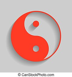 Ying yang symbol of harmony and balance. Vector. Red icon with soft shadow on gray background.