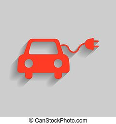 Eco electric car sign. Vector. Red icon with soft shadow on...