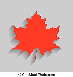 Maple leaf sign. Vector. Red icon with soft shadow on gray background.