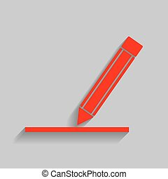 Pencil sign illustration. Vector. Red icon with soft shadow...