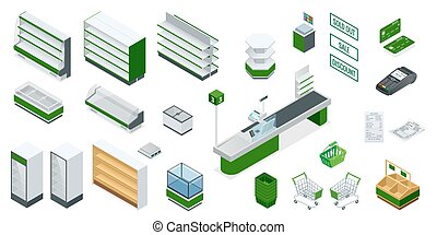 Vector isometric supermarket interior plan. Image includes...