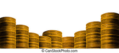 Many golden coins isolated on white background