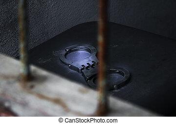 Handcuff in the rustic prison