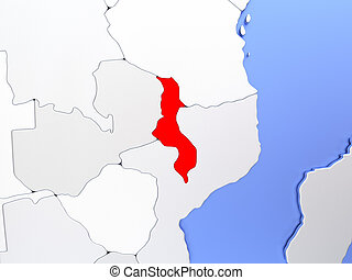 Malawi in red on map - Map of Malawi highlighted in red on...