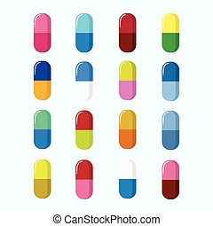 Set of Pills, Capsules Colourful Vector Illustration....