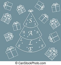 Vector illustration of Christmas tree with text sale and...