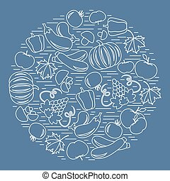 Set of autumn seasonal fruits and vegetables in circle....