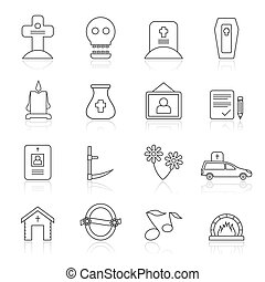 Line funeral and burial icons