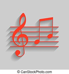 Music violin clef sign. G-clef and notes G, H. Vector. Red icon with soft shadow on gray background.