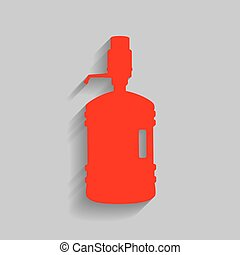 Plastic bottle silhouette with water and siphon. Vector. Red...