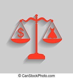Dress and dollar symbol on scales. Vector. Red icon with soft shadow on gray background.