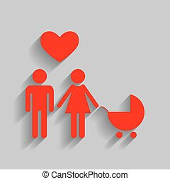 Family symbol with pram and heart. Husband and wife are kept each other`s hands. Love. Vector. Red icon with soft shadow on gray background.