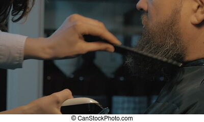 Close up view of woman hands cares of beard. Barber combing...