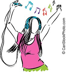lady girl listening music illustration