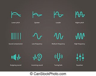 Sound compression and audio waves icons set. Vector...