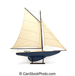 Toy sailboat - Children's sailboat on stand with mast and...