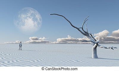 Man in desert with bare tree and moon Surreal Haunting