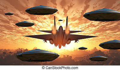 Aircrafts - Sunset. Flying saucers and jet plane together.