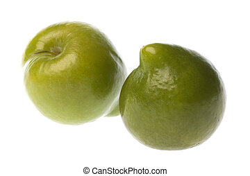 Green Plums Macro Isolated - Isolated macro image of green...