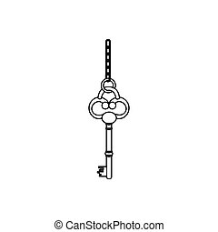 figure old key hanging icon, vector illustration image...