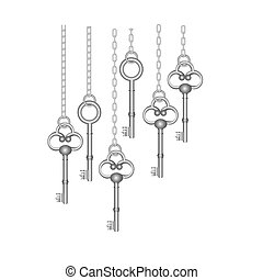 silver old keys hanging icon , vector illustration image...
