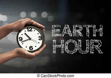 Turn off the light in 60 minute with Earth Hour message on...