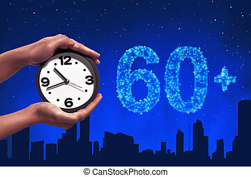 Turn off the light in 60 minute on sky at night background