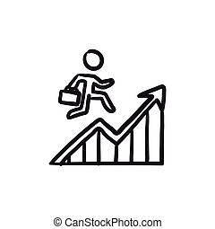 Financial recovery sketch icon. - Financial recovery vector...