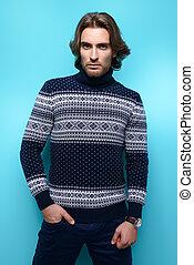 pullover collection - Handsome young man wearing sweater...