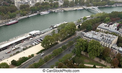 Paris aerial tilt view of Seine and bridges - Paris aerial...