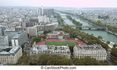 Paris aerial tilt view of Seine and bridge - Paris aerial...