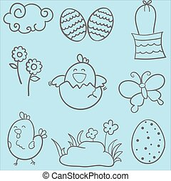 Easter style doodles vector art