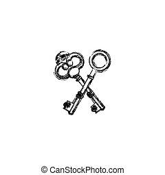contour old keys icon stock