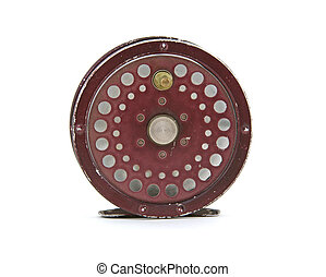 Fly fishing reel - An old fly fishing reel on a white...