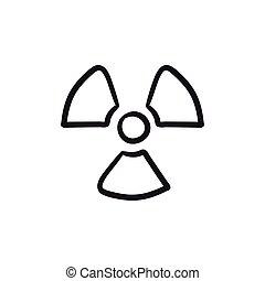Ionizing radiation sign sketch icon. - Ionizing radiation...