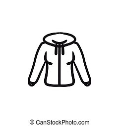 Hoodie sketch icon. - Hoodie vector sketch icon isolated on...