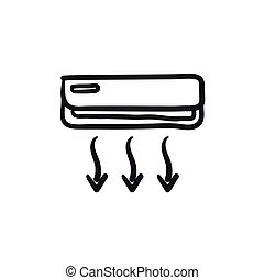 Air conditioner sketch icon. - Air conditioner vector sketch...