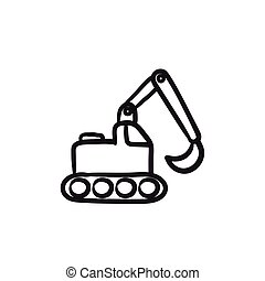 Excavator sketch icon. - Excavator vector sketch icon...