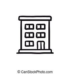 Residential building sketch icon. - Residential building...