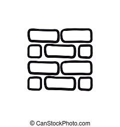 Brickwall sketch icon. - Brickwall vector sketch icon...