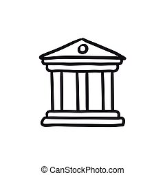 Museum sketch icon. - Museum vector sketch icon isolated on...