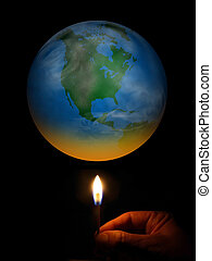 Global Warming - Concept image of a person heating the world...