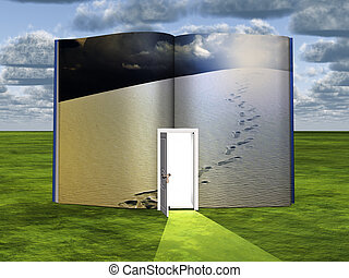 Footsteps - Surrealism. Book with opened door and tracks on...