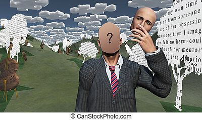 Man removes face showing question in landscape with text paper trees