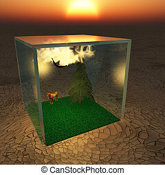 Ecosystem - Closed ecosystem in crystal cube.