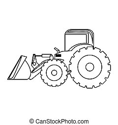 contour backhoe loader icon, vector illustration image...