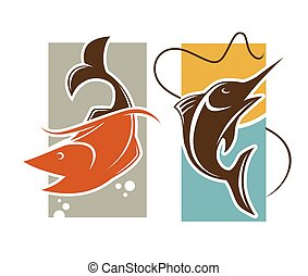 Fishing time logo template. Fish catch on rod hook vector...