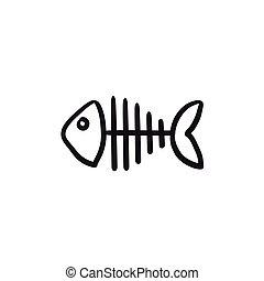 Fish skeleton sketch icon. - Fish skeleton vector sketch...
