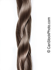 Plait on a white background - Thick plait from hair on a...