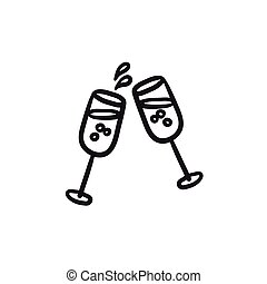 Two glasses of champaign sketch icon. - Two glasses of...